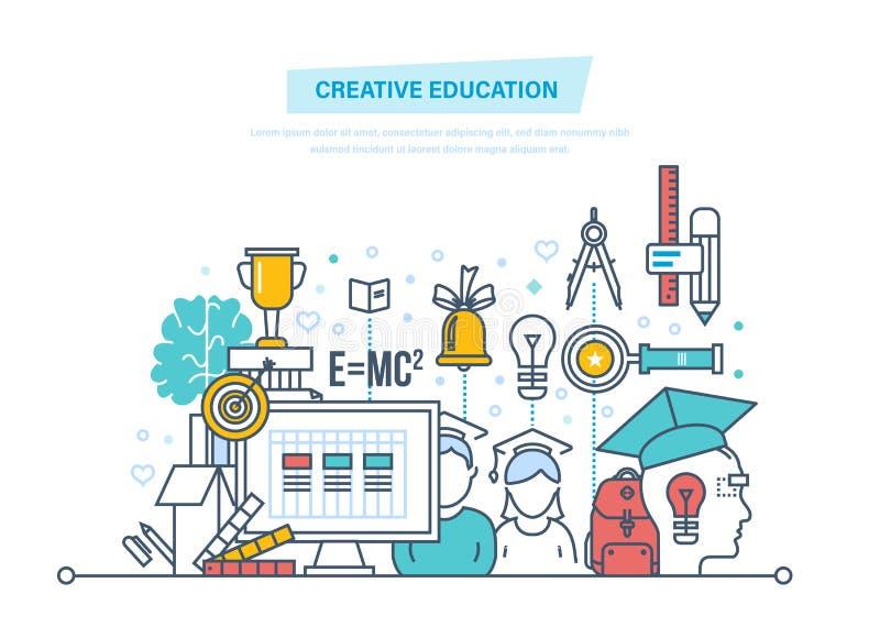 Kreatywnie edukacja Trenujący, twórczość dystansowy uczenie, technologia, wiedza, nauczanie, umiejętności ilustracji