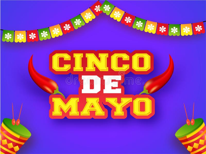 Kreatywnie fiesta przyjęcia ulotki lub plakata projekt z ilustracją czerwony chili ilustracja wektor