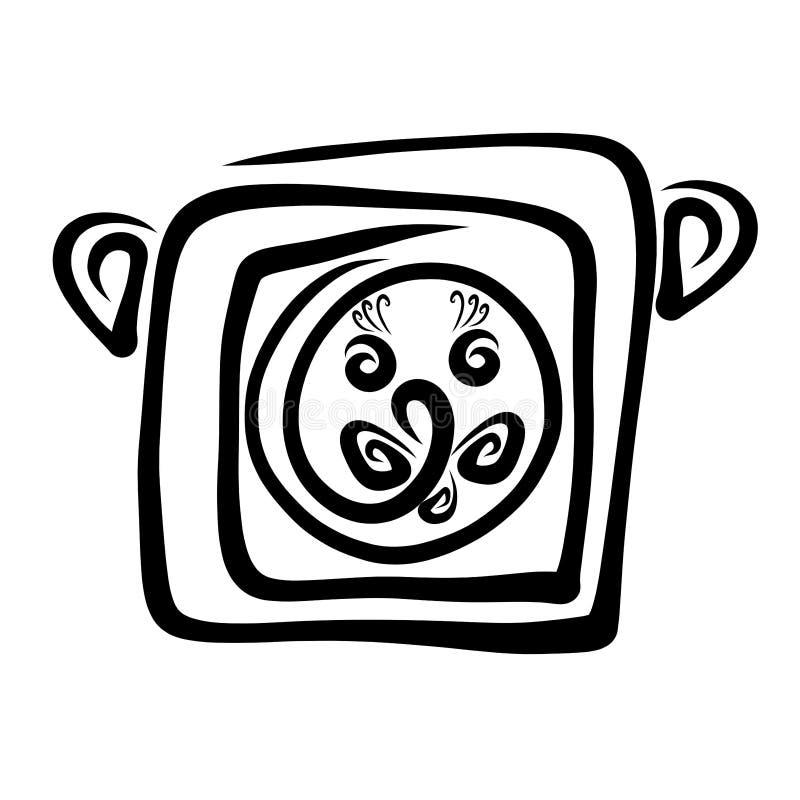 Kreatywnie głowa śmieszny lew, czerń wzór ilustracja wektor
