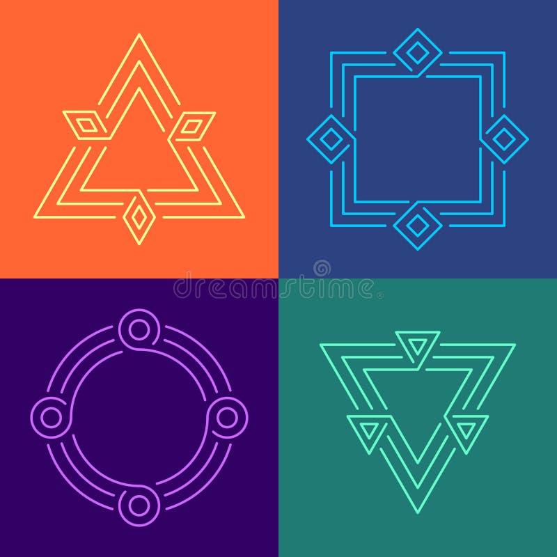 Kreatywnie geometryczne stylowe liniowe ramy ustawiać Różnego koloru geometryczni kształty osaczali ramy z potrójnymi kresko ilustracji