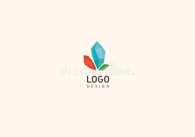 Kreatywnie geometrycznego loga barwioni kryształy royalty ilustracja