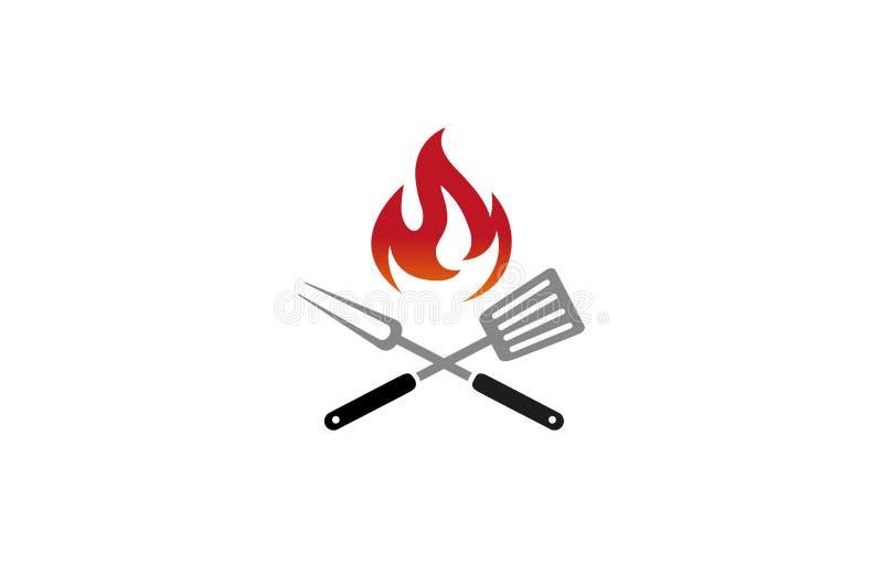 Kreatywnie grillów Kuchennych naczyń logo projekta symbolu wektoru Pożarnicza ilustracja ilustracja wektor