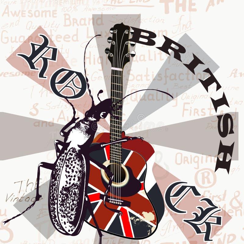 Kreatywnie grunge ulotka z GB gitarą akustyczną i flaga ilustracja wektor