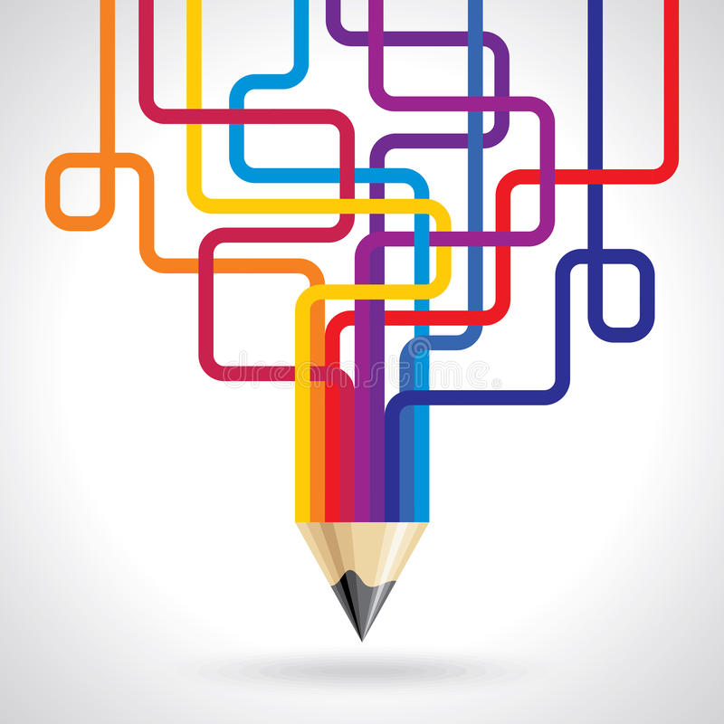 Kreatywnie i colourful ołówkowy pomysł royalty ilustracja