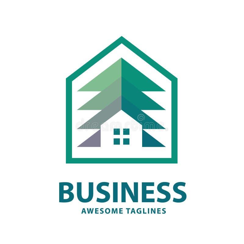 Kreatywnie i prosty sosna domu logo royalty ilustracja