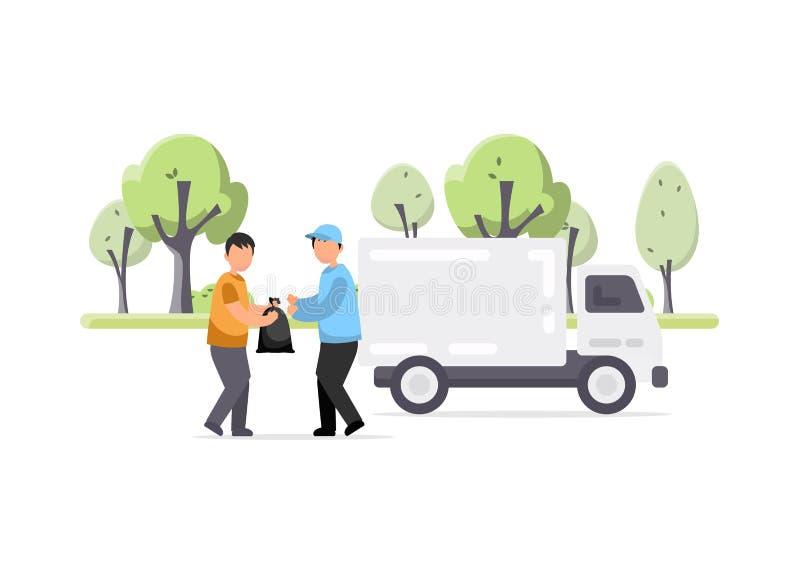 Kreatywnie ilustracja Śmieciarska ciężarówka i pracownik ilustracji
