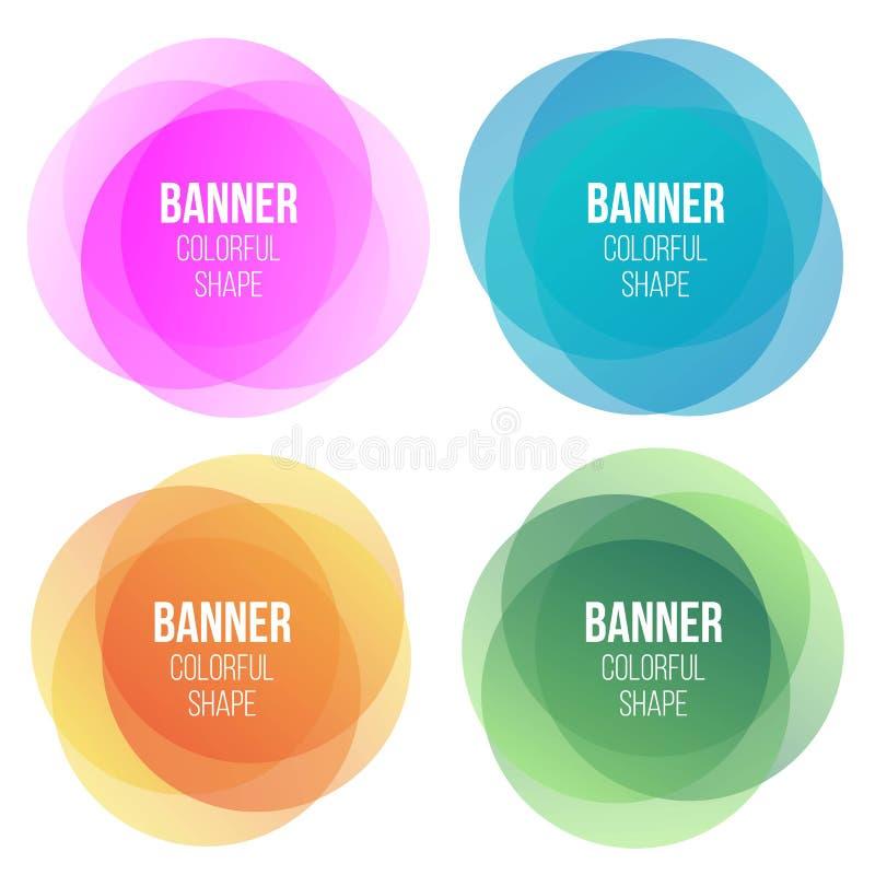 Kreatywnie ilustracja kolorowi round abstrakcjonistyczni sztandary Narzuta kolorów kształta sztuki projekt Zabawy etykietki forma royalty ilustracja