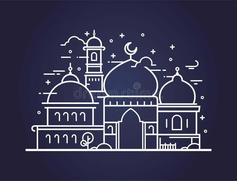 Kreatywnie ilustracja meczet w kreskowym stylu ilustracja wektor