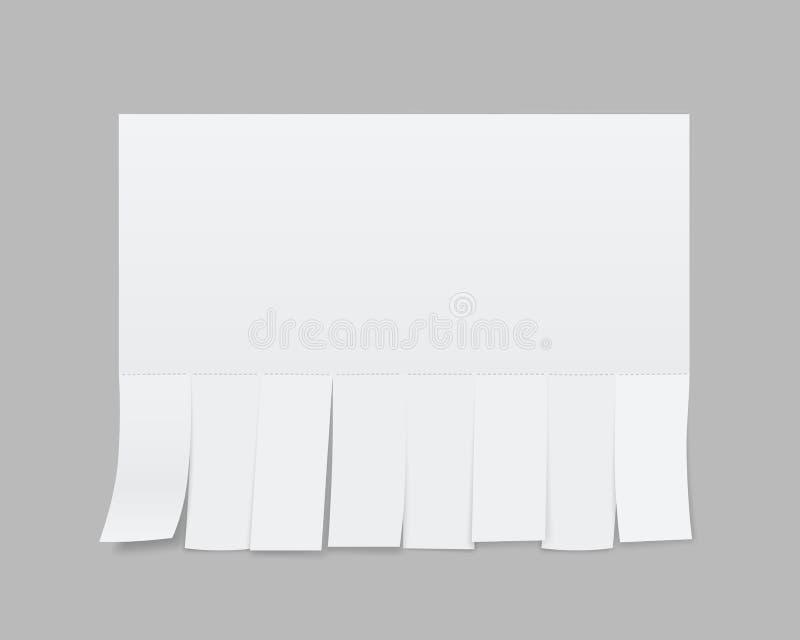 Kreatywnie ilustracja pusta pustego prześcieradła papieru reklama z łzy cięcia ślizganiami odizolowywającymi na przejrzystym tle  ilustracja wektor