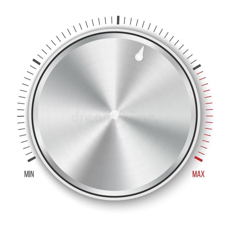 Kreatywnie ilustracja tarczy gałeczki pozioma technologii położenia, muzyczny metalu guzik z kółkowym przerobem odizolowywającym  ilustracja wektor