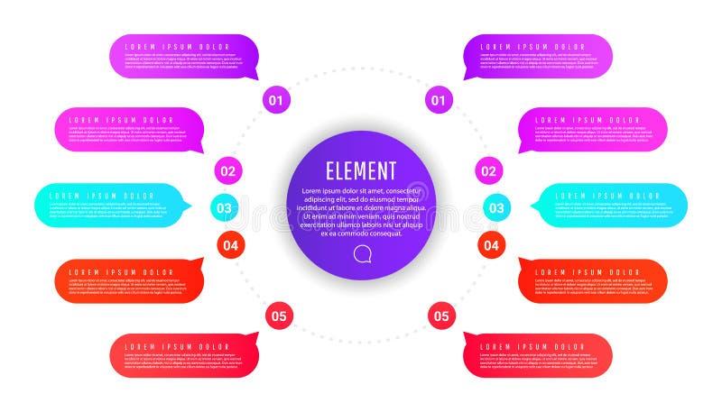 Kreatywnie infographic szablon z kolorowymi round elementami, pointerami i tekst?w polami, ilustracji