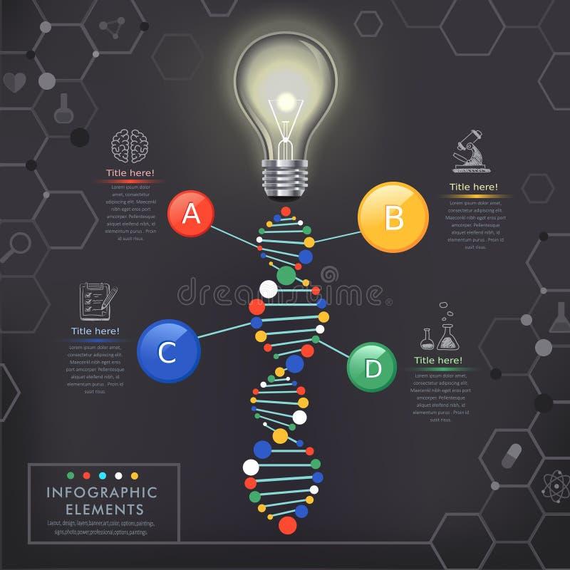Kreatywnie infographics szablon z żarówką ilustracja wektor