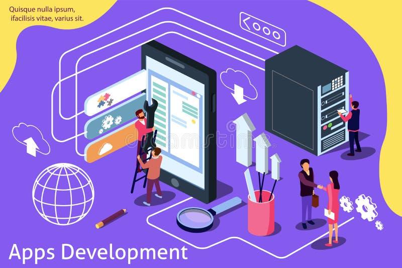 Kreatywnie isometric wektorowa ilustracja App rozwoju zawartość dla strony internetowej, sztandar, ogólnospołeczni środki, dokume royalty ilustracja