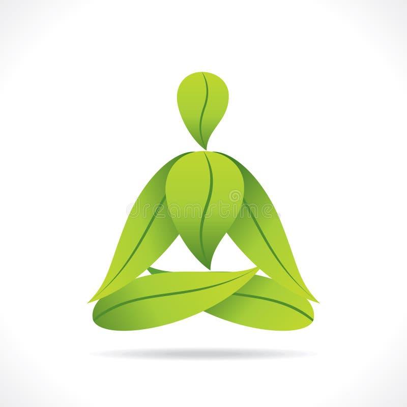 Kreatywnie joga pozy projekt z zielonym liściem ilustracja wektor
