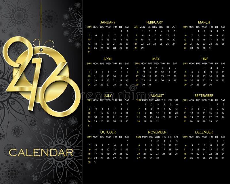 Kreatywnie 2016 kalendarza projekta wektorowy szablon ilustracji