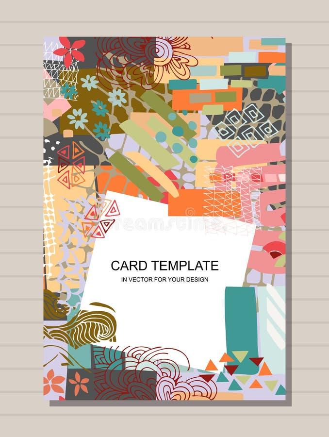 Kreatywnie karciany szablon z różnymi kolorowymi kształtami i teksturami kola? Nowożytny abstrakcjonistyczny druk ilustracja wektor