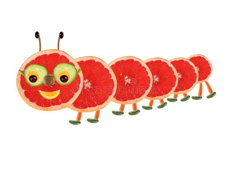 Kreatywnie karmowy pojęcie Śmieszna mała gąsienica robić od owoc ilustracja wektor