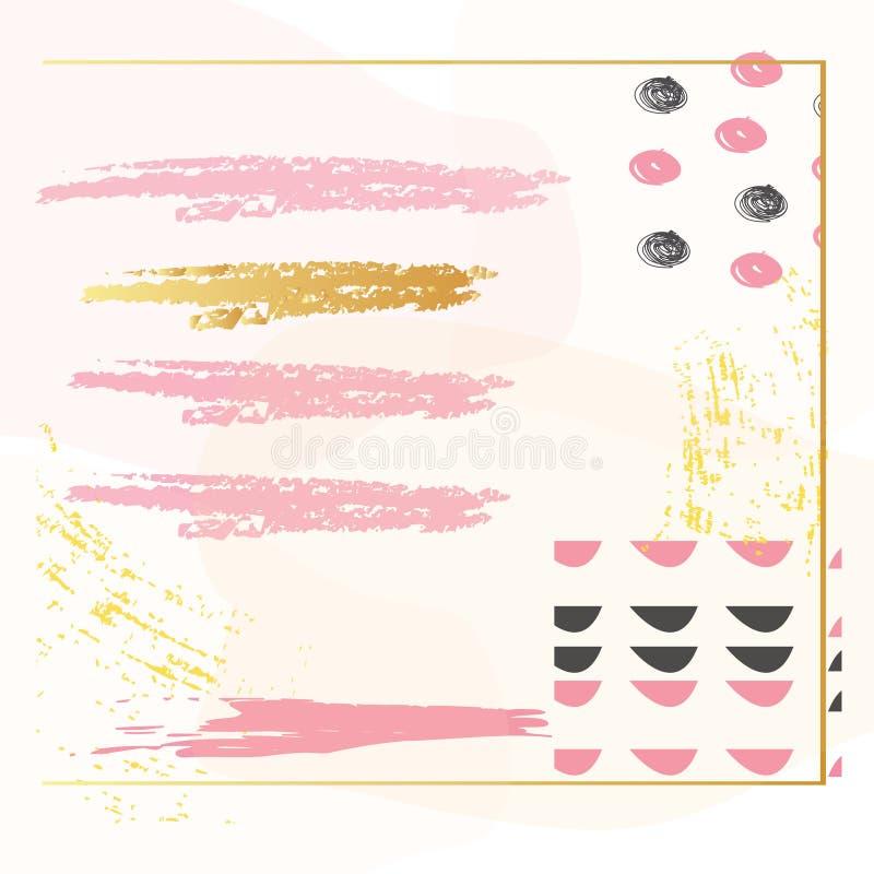 Kreatywnie karta z abstrakcjonistycznymi geometrycznymi tło Modny modnisia styl Pastelowych menchii kolory U?ywalny dla kartka z  royalty ilustracja