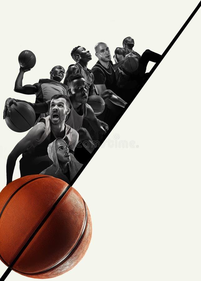 Kreatywnie kolaż gracze koszykówcy w akcji zdjęcia royalty free
