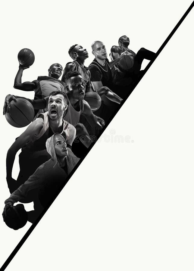 Kreatywnie kolaż gracze koszykówcy w akcji fotografia stock