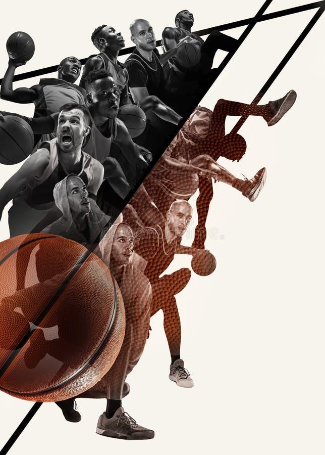 Kreatywnie kolaż gracze koszykówcy w akcji fotografia royalty free