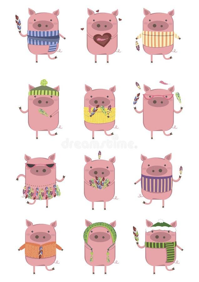 Kreatywnie kolekcja śliczne świnie ilustracja wektor