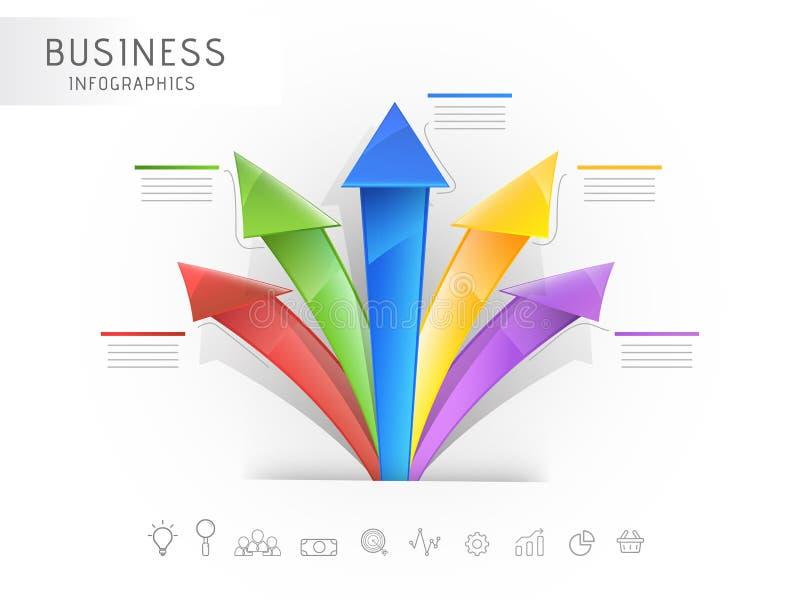 Kreatywnie kolorowa infographic 3D strzała z sieci ikoną dla twój biznesu royalty ilustracja