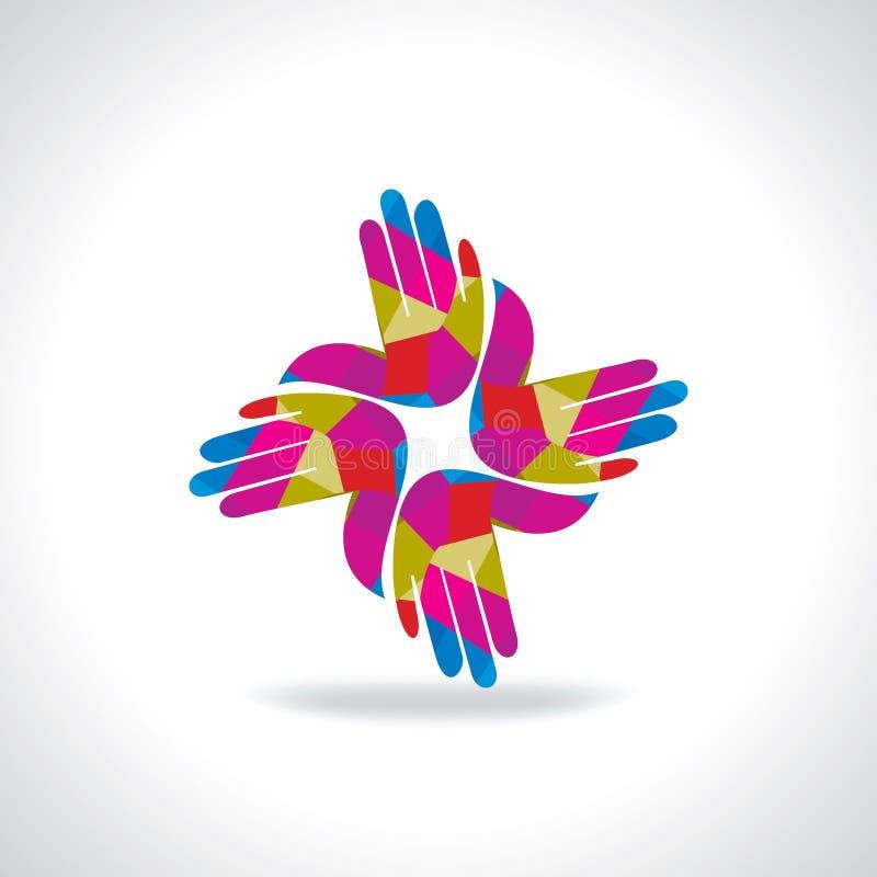 Kreatywnie kolorowa ręka biznesu ikona royalty ilustracja