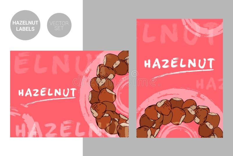 Kreatywnie kolorowe hazelnut etykietki z ręka rysującą typografią i szczotkarskimi uderzenie elementami royalty ilustracja