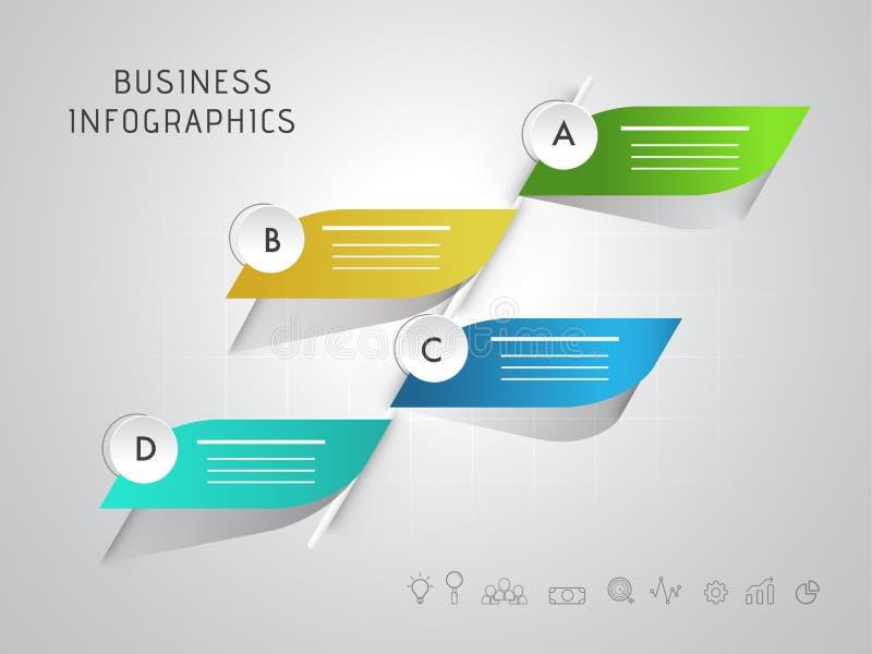 Kreatywnie kolorowy infographic 3D liść z abecadłem dla twój Biznesowego Infographic royalty ilustracja
