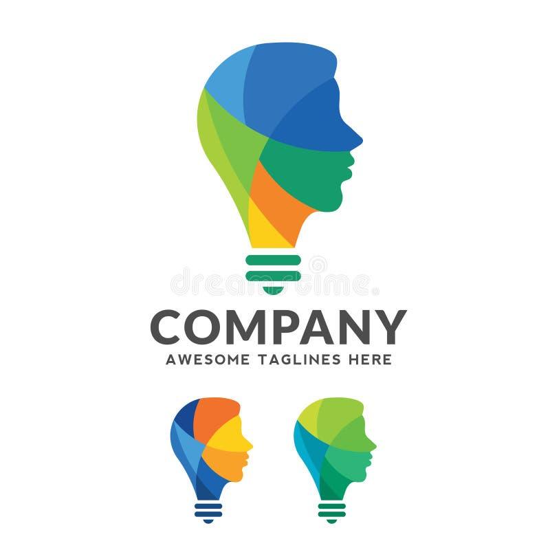 Kreatywnie kolorowy móżdżkowy pojęcie, inteligentnej osoby wektorowy logo, ilustracji