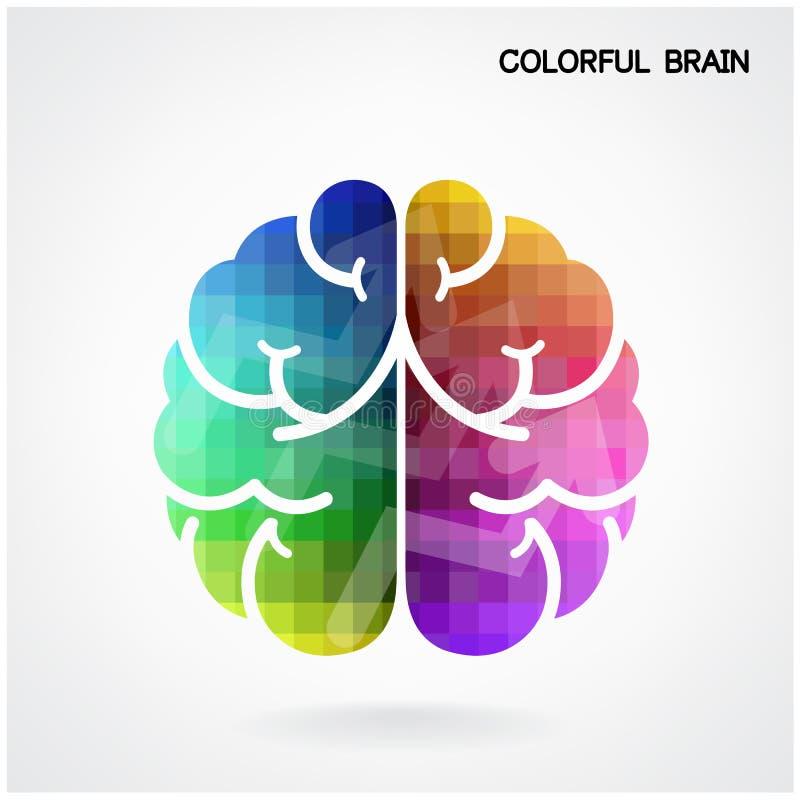 Kreatywnie kolorowy móżdżkowy pomysłu pojęcia tło ilustracja wektor