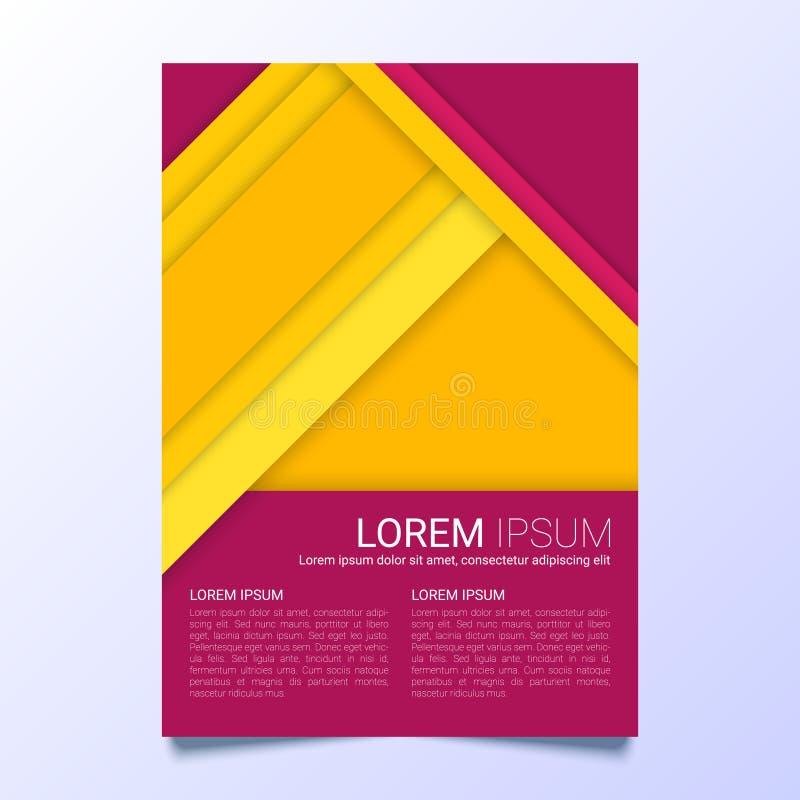 Kreatywnie koloru żółtego i purpur ulotki wektorowy szablon w A4 rozmiarze royalty ilustracja