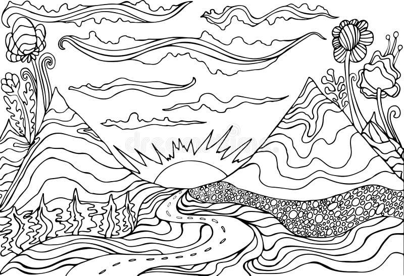 Kreatywnie kolorystyki strony fantazja z halnym krajobrazem, chmurami, słońcem i drogą prowadzi w zmierzch, Kresk?wki doodle styl ilustracji
