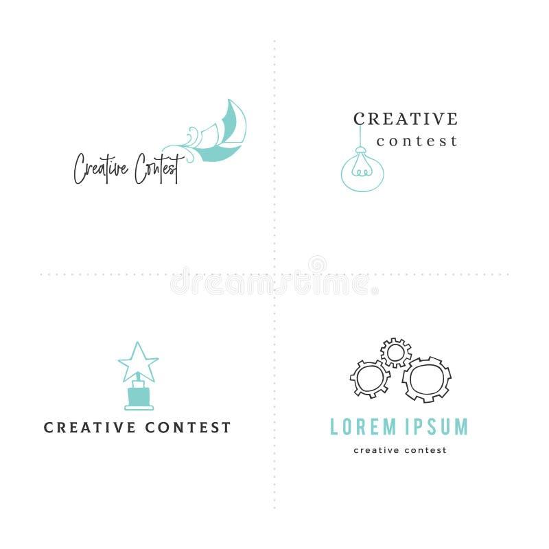 Kreatywnie konkursu Wektorowy ustawiający premade logo szablony z barwiona ręka rysować ikonami ilustracji