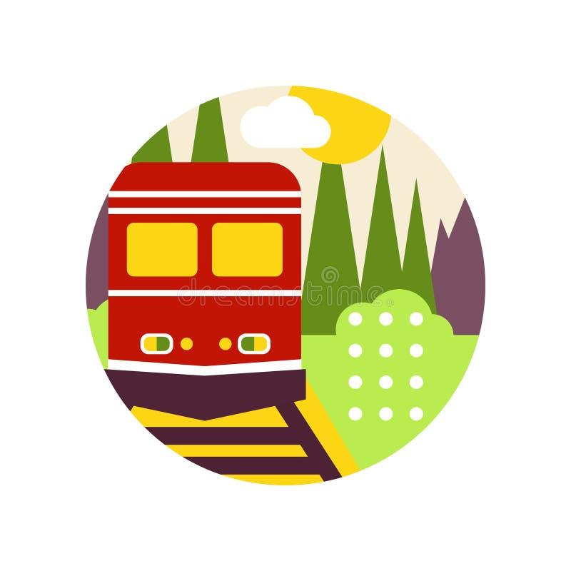 Kreatywnie krajobraz z linią kolejową i pociągiem w loga okręgu, ekologicznego i natury środowiskowym znaku, projekta element dla ilustracja wektor