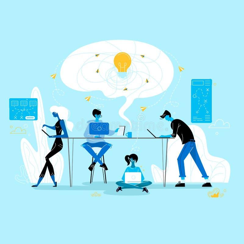 Kreatywnie kryzys Ludzie biznesu grupuj? w biurze royalty ilustracja