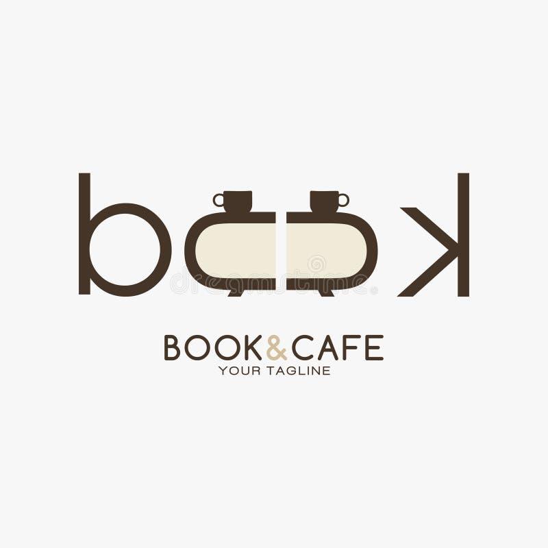 Kreatywnie książki i kawiarni logo projekt ilustracji
