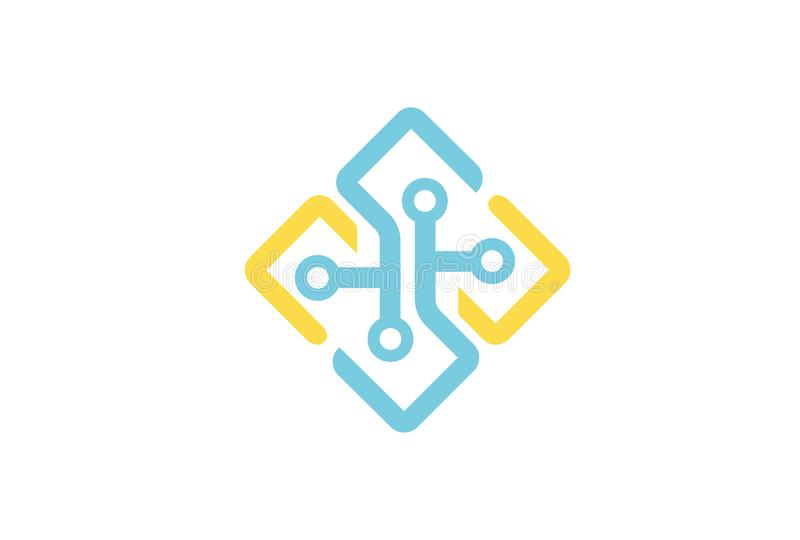 Kreatywnie kształtów symbolu projekta Podłączeniowy logo ilustracji