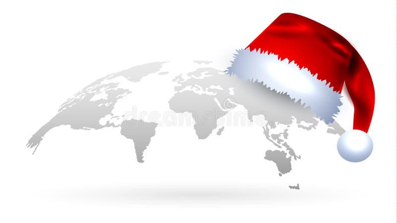 Kreatywnie kuli ziemskiej mapa w Popielatym z Czerwonym Santa ` s kapeluszem dalej ilustracja wektor