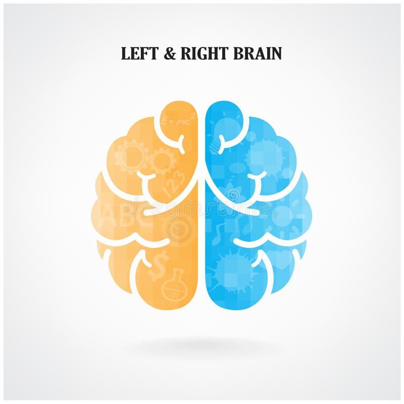 Kreatywnie lewy i prawy móżdżkowy symbol royalty ilustracja