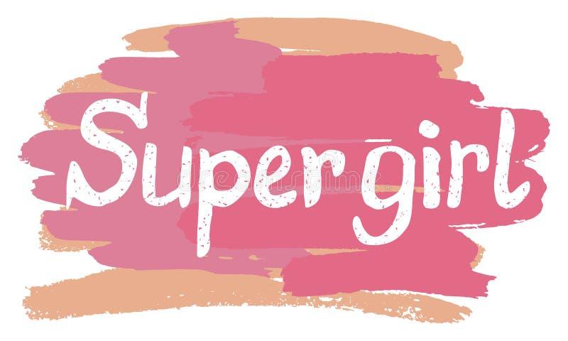 Kreatywnie literowanie z girly zwrota Super dziewczyną royalty ilustracja