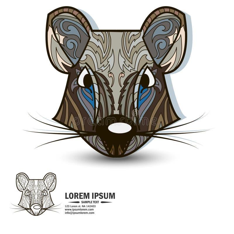 Kreatywnie loga i projekta elementy z szczurem ilustracji
