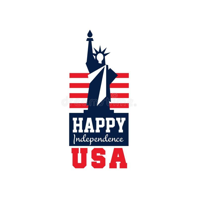 Kreatywnie logo z statuą wolności i USA flaga tła dzień grunge niezależność retro Święto narodowe szczęśliwego czwartego Lipca Pł royalty ilustracja
