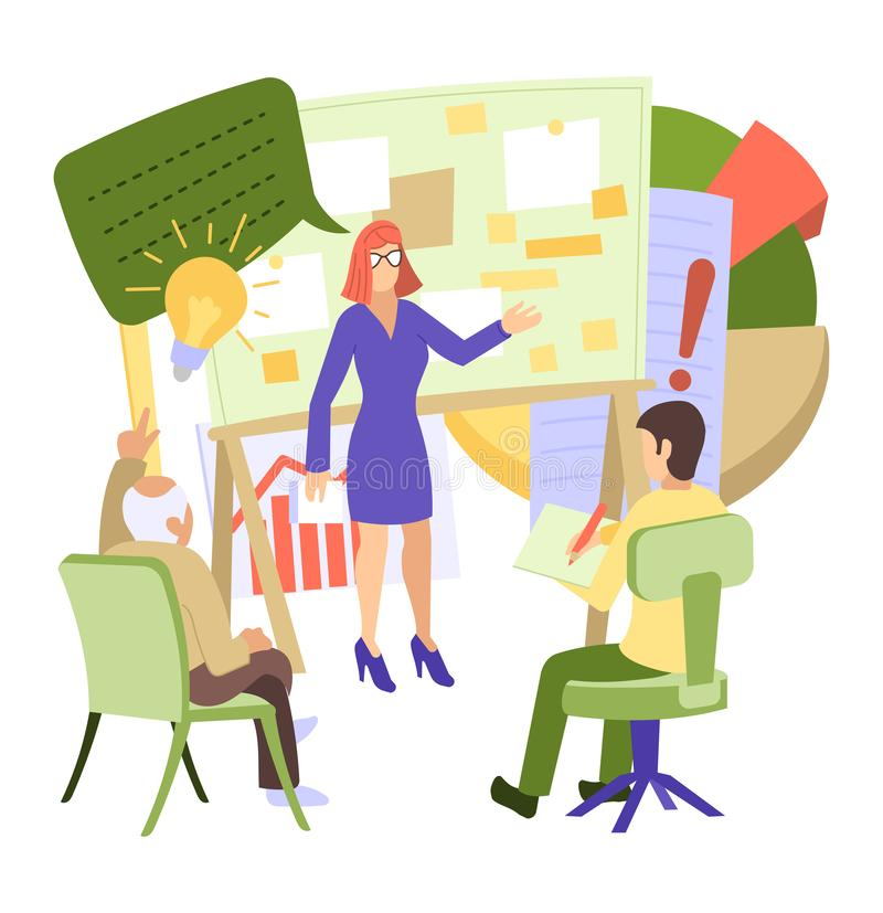 Kreatywnie ludzie wektorowego mężczyzna kobiety charakteru pracuje wpólnie przy biurem teamworking ilustracyjnego ustawiającego p royalty ilustracja