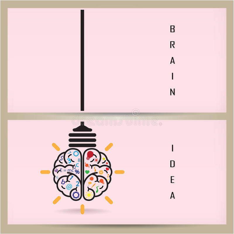 Kreatywnie móżdżkowy żarówka sztandaru pojęcie i pomysł, projekt dla po royalty ilustracja