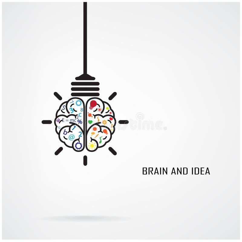 Kreatywnie móżdżkowy żarówki pojęcie i pomysł ilustracja wektor