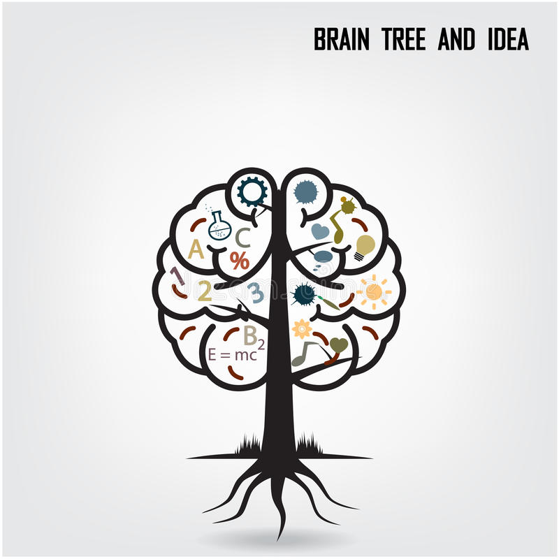 Kreatywnie móżdżkowy drzewny kształta znak ilustracja wektor