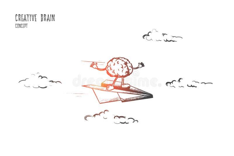 Kreatywnie móżdżkowy pojęcie Ręka rysujący odosobniony wektor ilustracja wektor