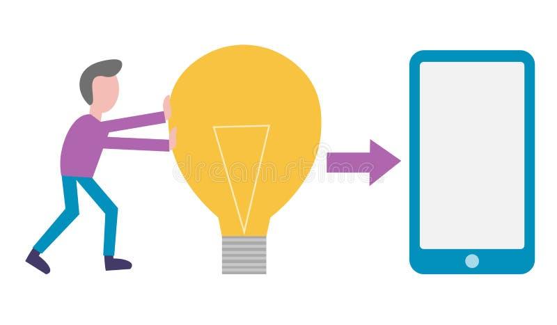 Kreatywnie mężczyzna z lampą pomysł dlaczego rozwijać mobilnego zastosowanie ilustracja wektor